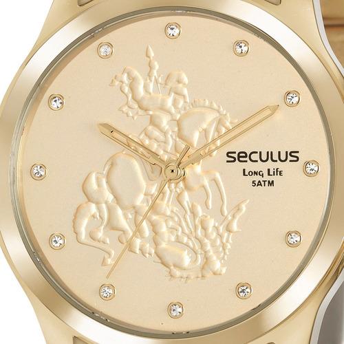 kit relógio seculus feminino + brinde garantia original nfe