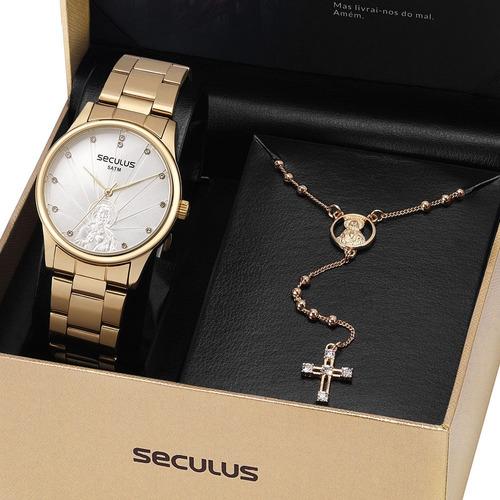 kit relógio seculus feminino + brinde original garantia nfe