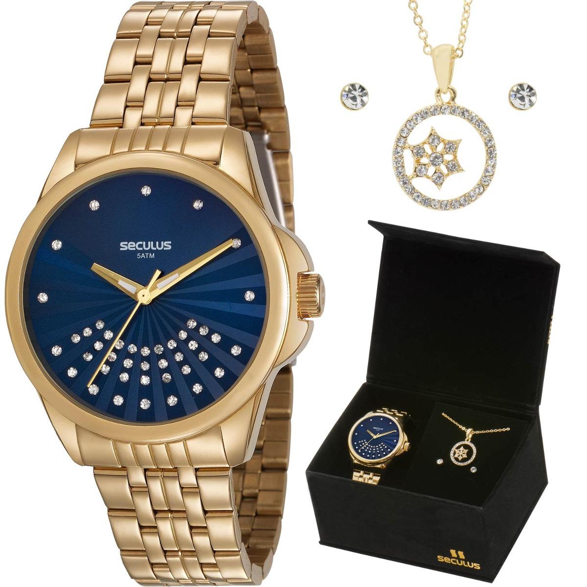 f1a59b54aca kit relógio seculus feminino colar e brincos 20599lpsvds2k1. Carregando  zoom.