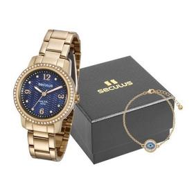 Kit Relógio Seculus Feminino Com Olho Grego