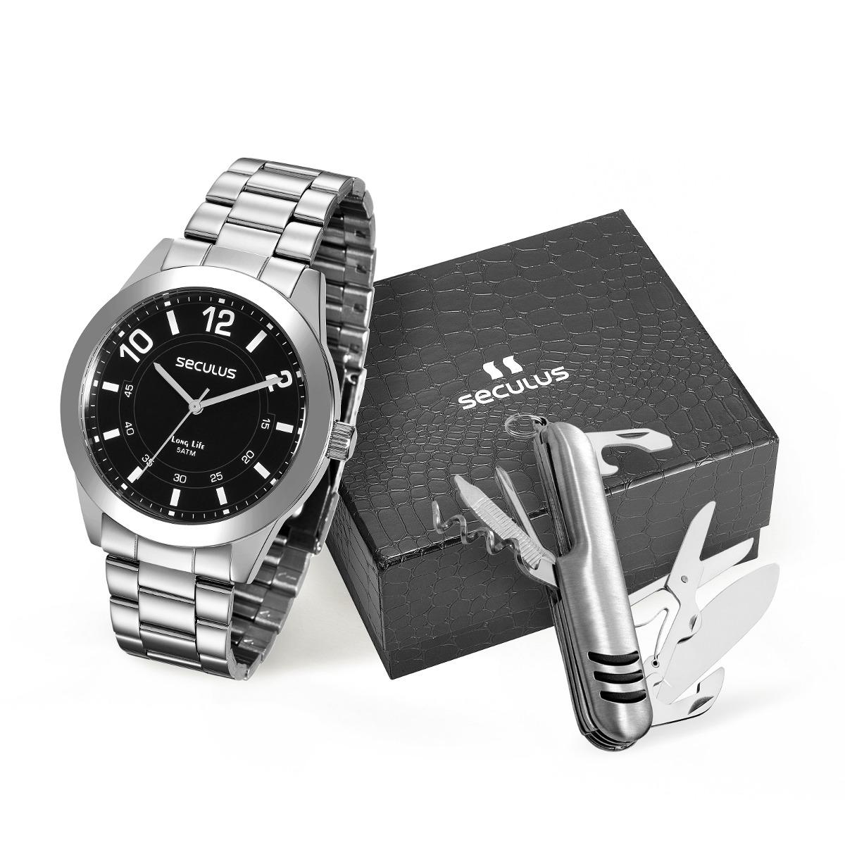 08f30e4b3b6 kit relógio seculus masculino 28883g0svna1k1+ canivete. Carregando zoom.