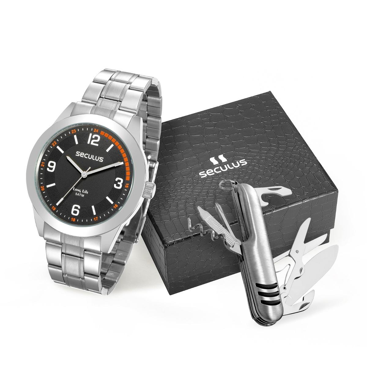 aa5b52962 kit relógio seculus masculino 28885g0svna2k1 + canivete. Carregando zoom.