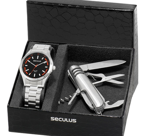 kit relógio seculus masculino barato + brinde garantia nfe