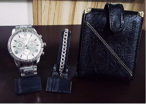 kit relógio social masculino + carteira de couro + pulseira!