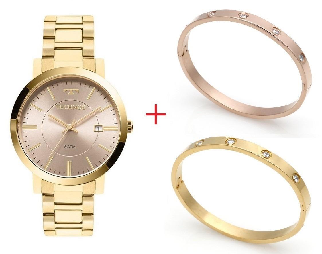 e3ed05369b5 kit relógio technos feminino 02 braceletes dourados e rosê. Carregando zoom.