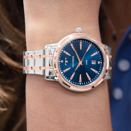 kit relógio technos feminino com colar e brincos 2115mrt/5a