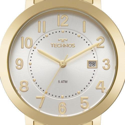 kit relógio technos feminino com colar e brincos 2115mru/4k