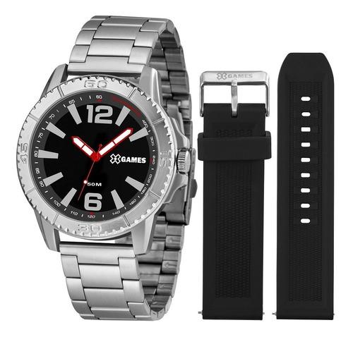 kit relógio x-games masculino xmls0001 p2sx analogico prata