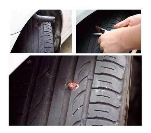 kit remendo p/ reparo macarrão pneu carro moto s/ câmara