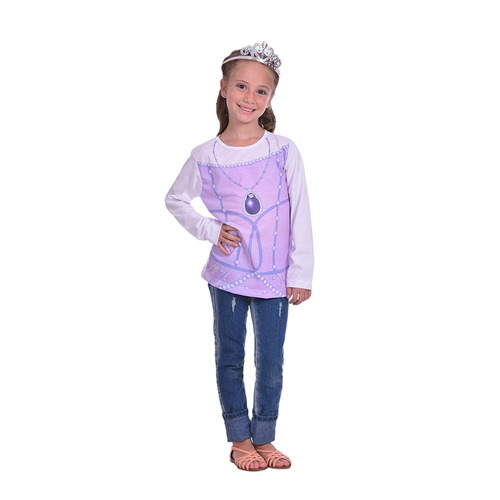 kit remera manga larga + corona princesita sofía