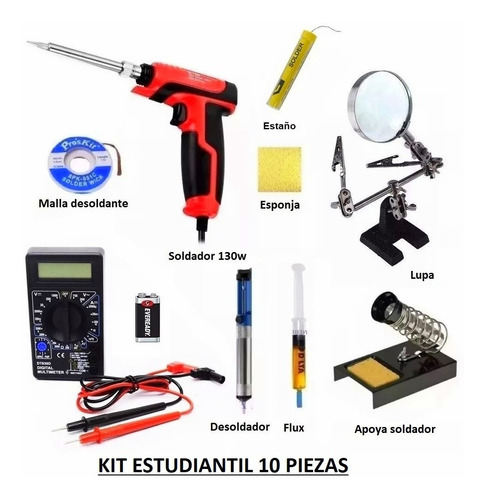 kit reparacion celulares 10 pzas soldador 130w lupa estaño