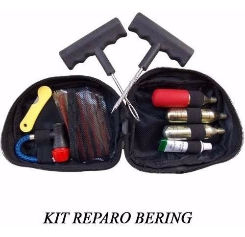kit reparo conserto pneu furado moto selante co2 bering