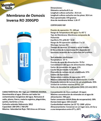 kit repuesto filtro de agua osmosis inversa 200 galones uv