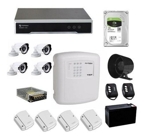 kit residencial 4 câmeras hd720p topway + alarme sem fio ecp