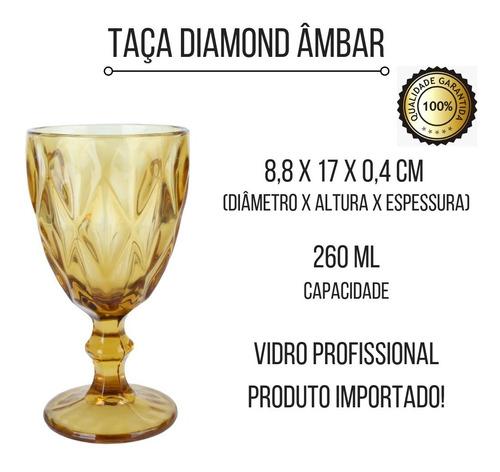 kit restaurante 6 taça diamond âmbar 8,8 cm 260 ml ref 66931