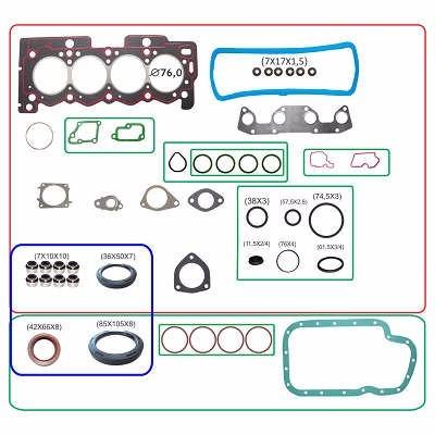kit retifica motor c/ ret peugeot 1007 207 307 1.4 8v 2001/