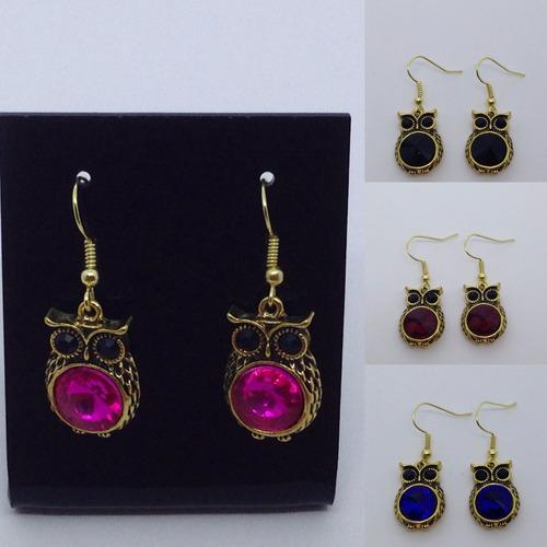 kit revenda 12 brincos de coruja bijoux