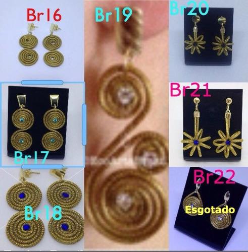 kit revenda atacado 15 brincos em capim dourado variados