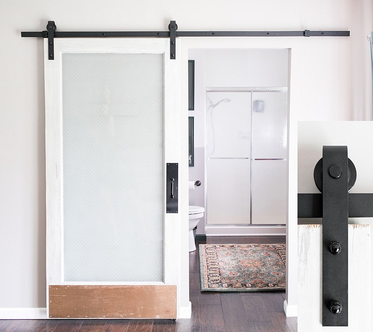 Kit riel para puerta corrediza 8pies ultra silencioso for Riel para puerta corrediza