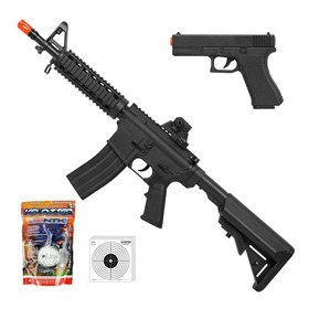 Kit Rifle De Airsoft Spring M4a1 Ris + Pistola Gk V307