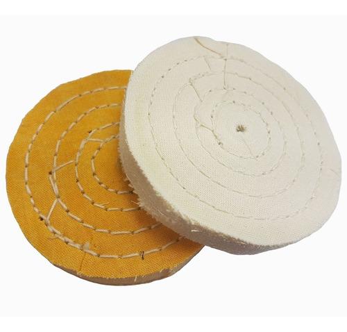 kit roda de pano para lustrar cores branca e amarela de 4