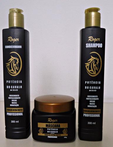 kit roger potencia do cavalo condicionador shampoo máscara