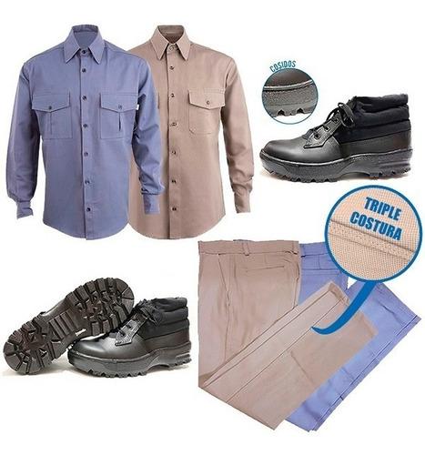 kit ropa de trabajo uniforme camisa pantalón botín oferta