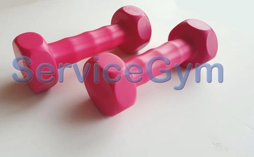 kit rosa colchoneta + mancuernas y tobillera  2kg servicegym