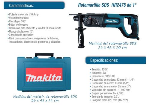 kit rotomartillo hr2475 sds plus + esmeriladora makita 9557n