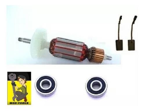 kit rotor + rolamentos + carvao esmerilhadeira bosch gws8115