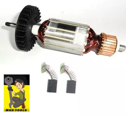kit rotor + rolamentos + carvão serra marmore mt410/mcc400