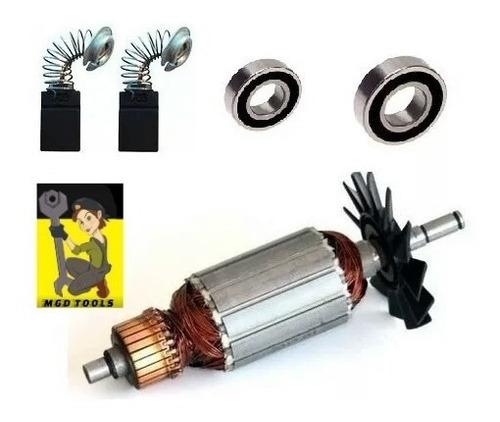 kit rotor + rolamentos + escovas p/ serra makita 4100nh