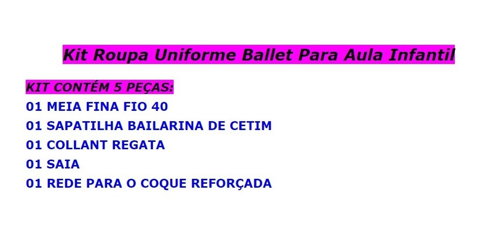 9ff9c501cc3241 Kit Roupa Bailarina De Ballet Infantil 4 Anos Vermelha