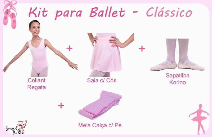 51fc28db89 Kit Roupa Uniforme Figurino Ballet - Clássico - 4 Peças - R  54
