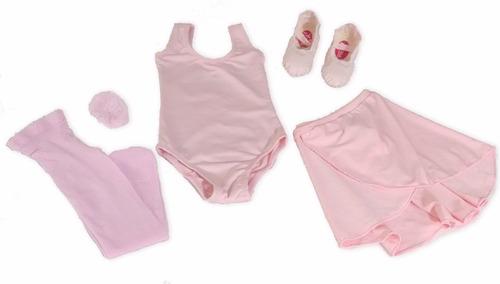 kit roupa uniforme figurino ballet rosa aulas infantil df