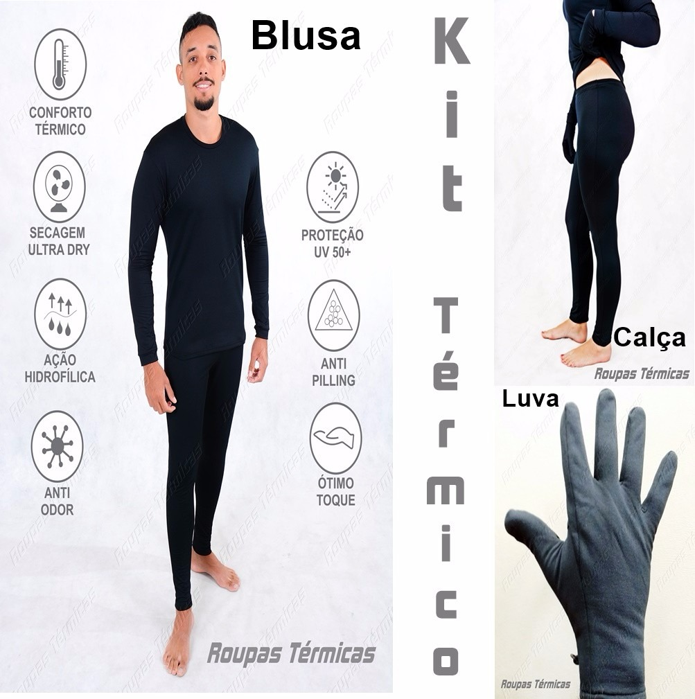 7f2c747ef kit roupas térmicas 1 luva 1 blusa 1 calça segunda pele uv. Carregando zoom.