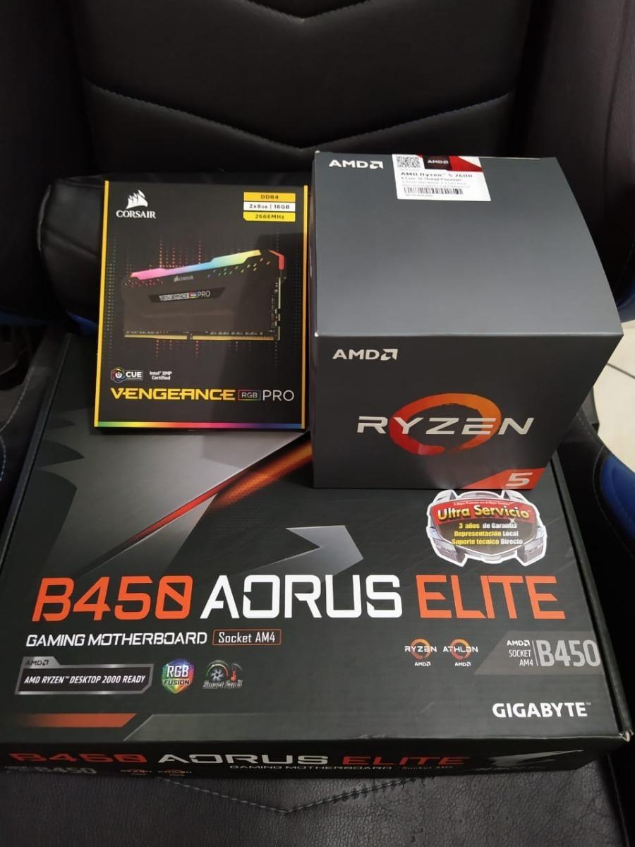 Kit Ryzen 5 2600, B450 Aorus Elite,16gb (2x8) Corsair Rgb