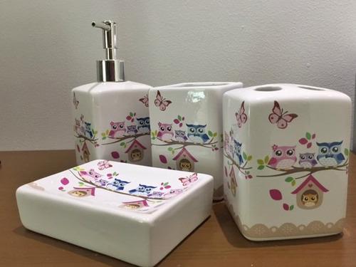 kit sabonete líquido cerâmica saboneteira corujinhas lindas