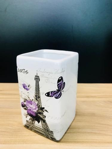 kit sabonete líquido cerâmica saboneteira paris borboleta