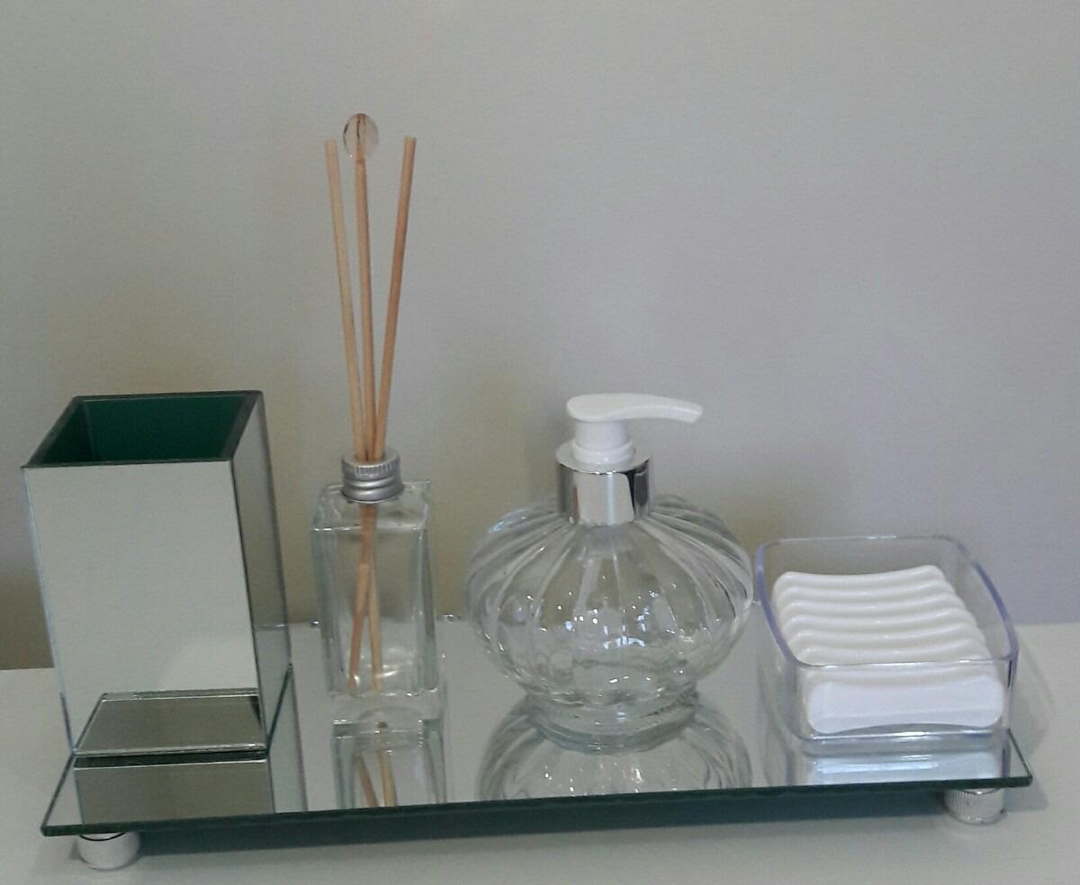 Kit Banheiro Moldenox : Kit saboneteira banheiro bandeja espelhada acessorios