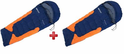 kit saco 2 de dormir c capuz freedom azul até -3,5ºc nautika