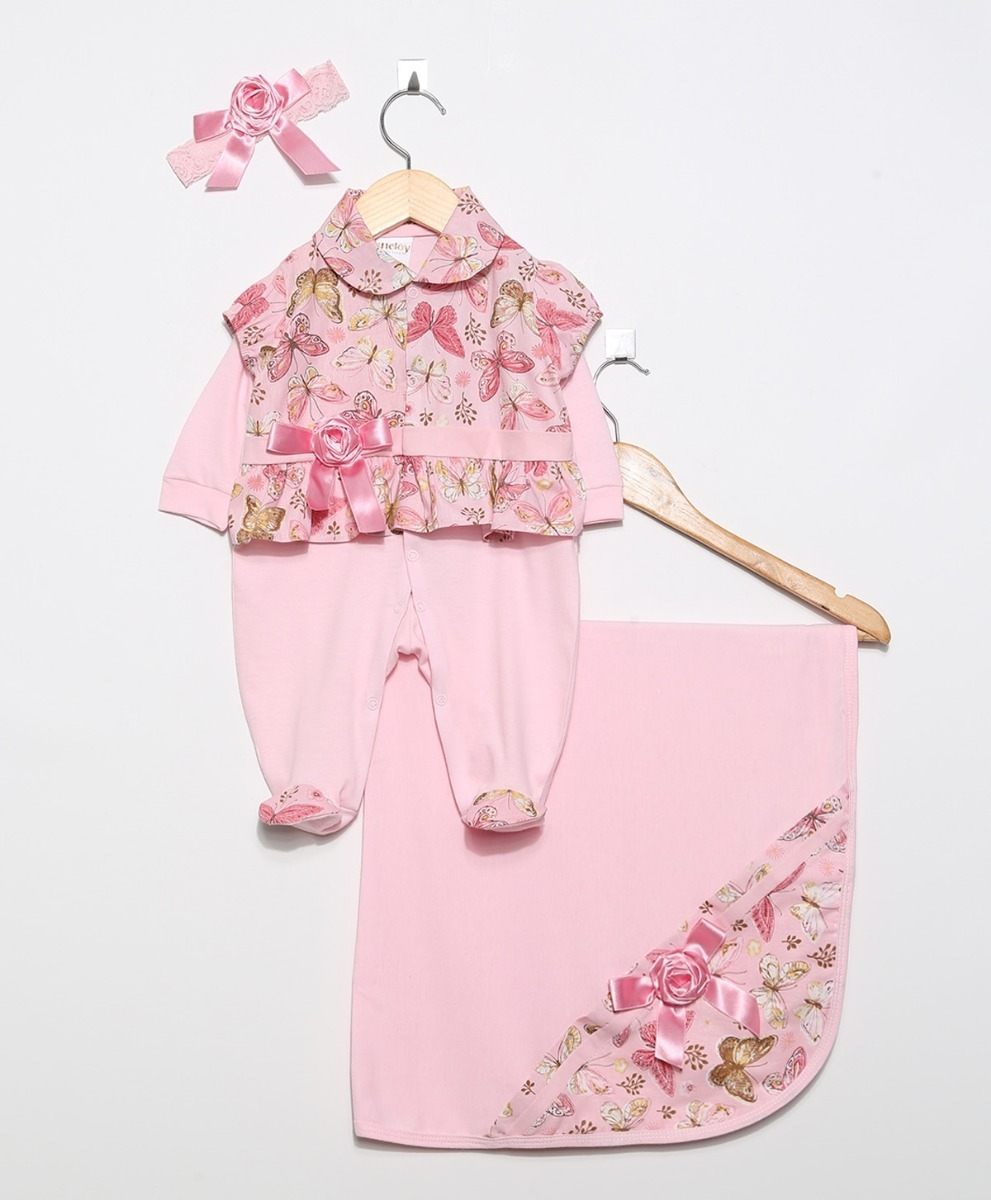 ba32bfbdbe kit saída de maternidade menina luxo 4 peças rosa floral. Carregando zoom.