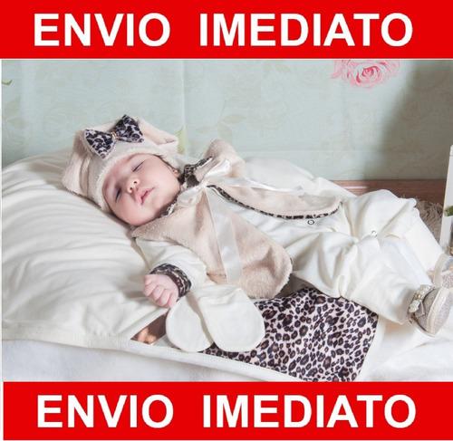 kit saída de maternidade oncinha menina - palha  - bebe
