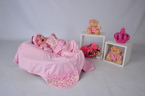 kit saída de maternidade rosa floral + helena vermelho