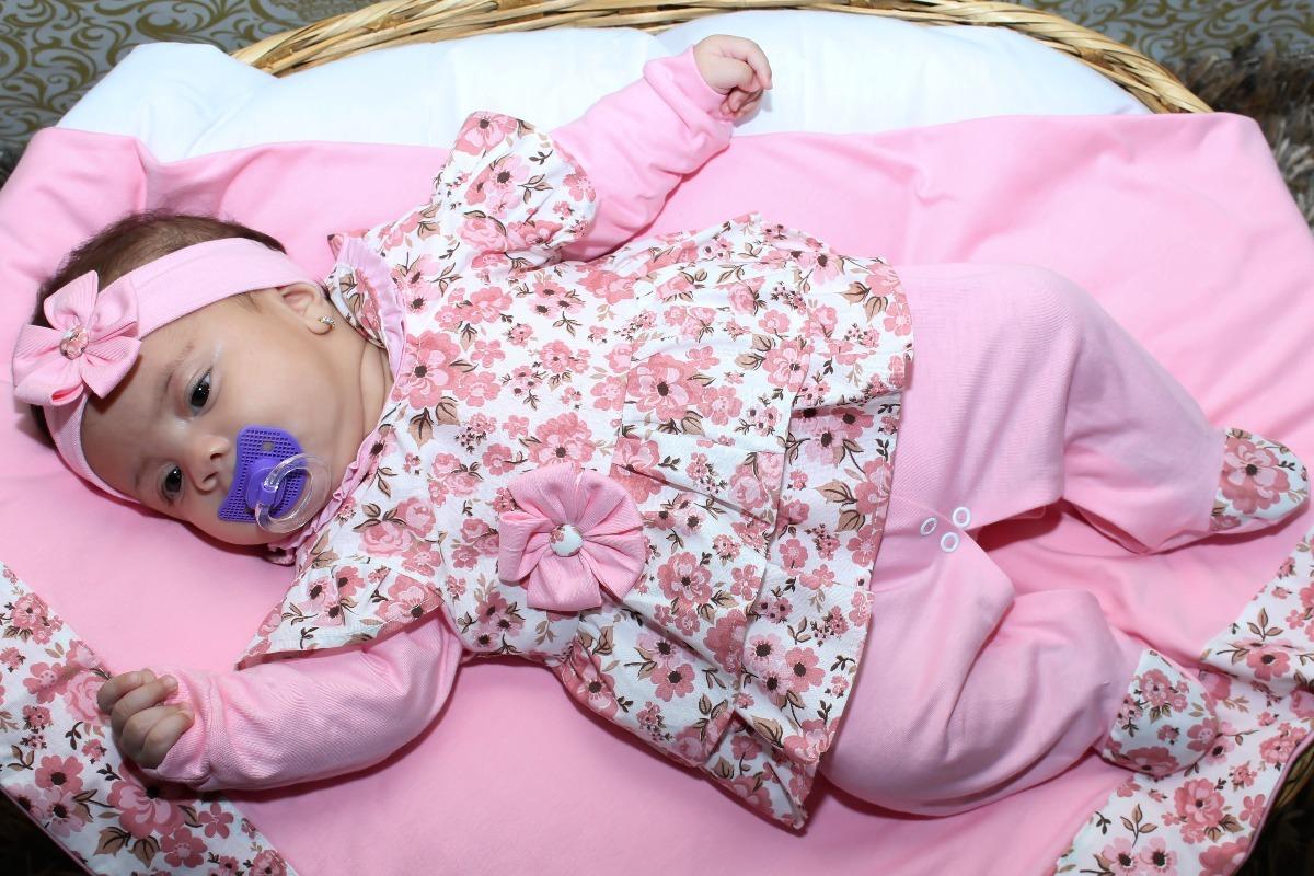bfe2f8375f kit saída de maternidade rosa floral menina bebê luxo. Carregando zoom.