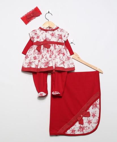 kit saída de maternidade vestido floral vermelho ou rosa