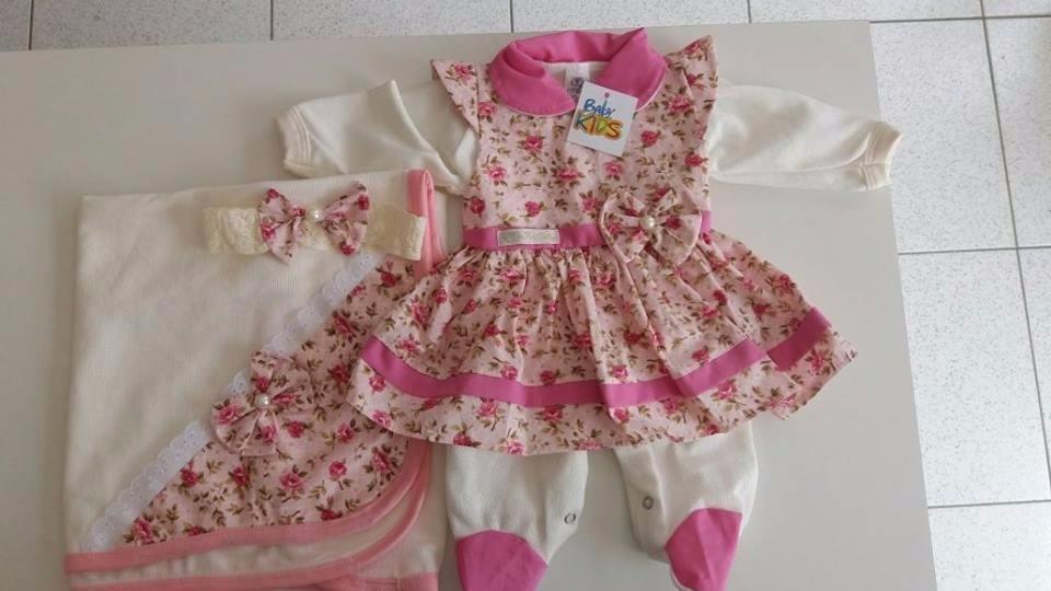 7ebf97cf2 kit saída de maternidade vestido rosa mais lacinho menina. Carregando zoom.