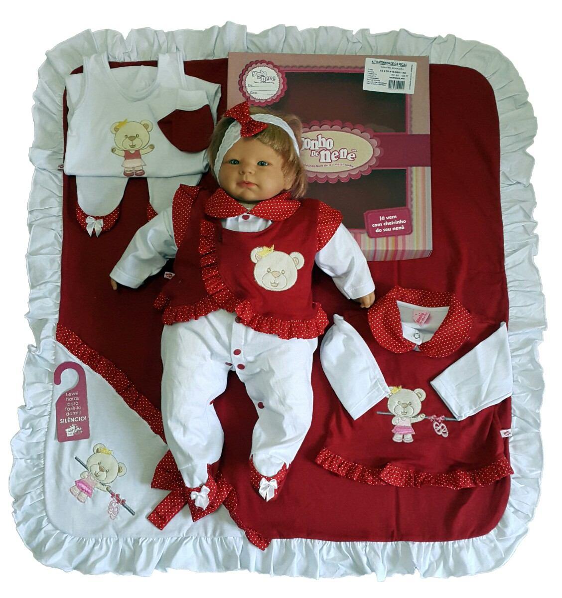 8d88479a73ed0 kit saída maternidade menina vermelho   rosa sonho de nenê. Carregando zoom.