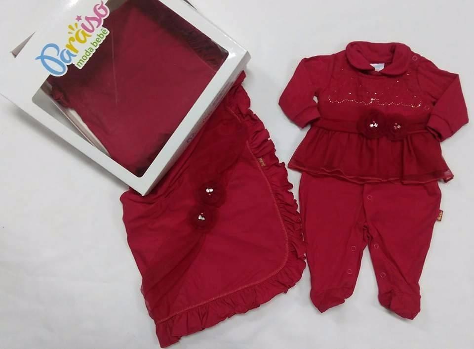Kit Saida Maternidade Paraiso Bebê Menina Vermelho Ref d4c5b70d5f6