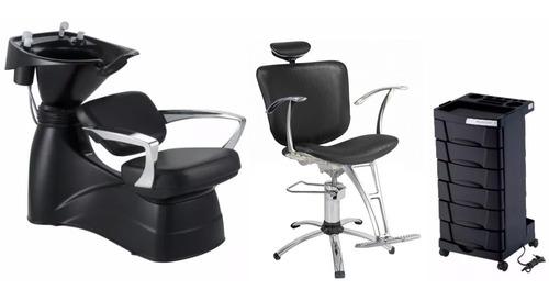 kit salão cabeleireiro bianca: lavatório, cadeira, carrinho